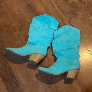 Aqua/mint western boots